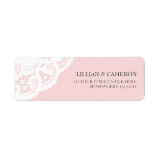 Se ruborizan las etiquetas rosadas del remite del  etiquetas de remite