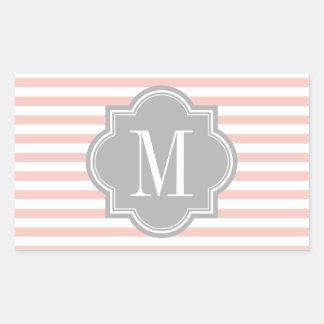 Se ruborizan las rayas rosadas con el monograma pegatina rectangular