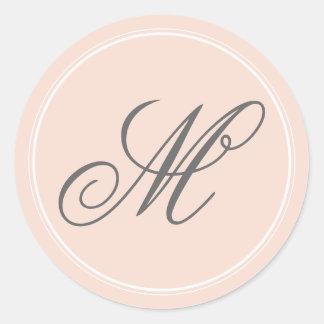 Se ruborizan los pegatinas rosados del monograma