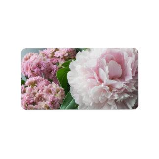 Se ruborizan los Peonies rosados Etiqueta De Dirección