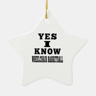 Sé sí baloncesto de silla de ruedas adorno de cerámica en forma de estrella