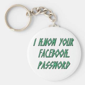 Sé su contraseña del facebook llaveros personalizados
