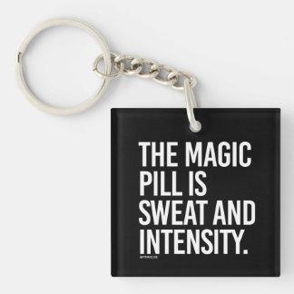 Se suda la píldora mágica e intensidad -   llavero cuadrado acrílico a una cara