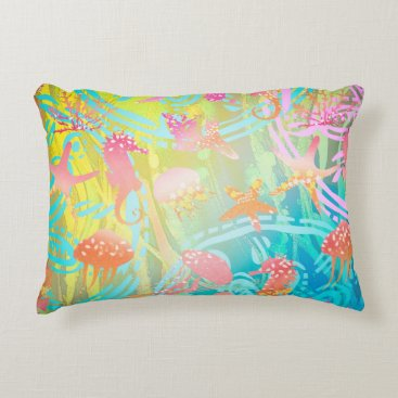 "Beach Themed Sea 2 A Cotton Accent Pillow 16"" x 12"""