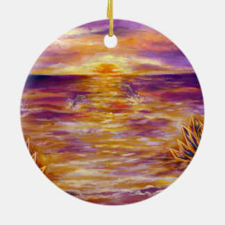Sea 4 of crystal and dolphin ceramic ornament