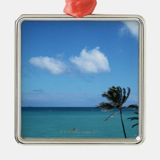 Sea 5 square metal christmas ornament
