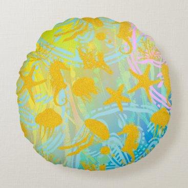 "Beach Themed Sea A Cotton Round Throw Pillow (16"")"