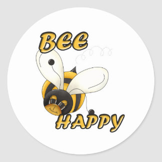 Sea abeja sonriente feliz pegatina redonda