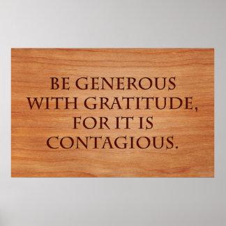 Sea abundante con gratitud póster