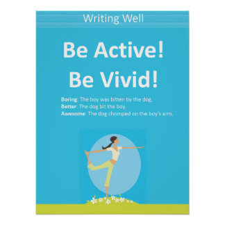 ¡Sea activo! Poster educativo de la escritura