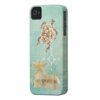 Sea Adventure Turtle Jewel Print & Starfish iPhone 4 Case-Mate Case