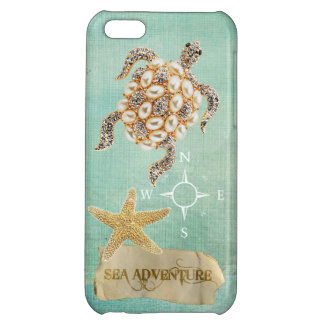 Sea Adventure Turtle Jewel Print & Starfish Case For iPhone 5C
