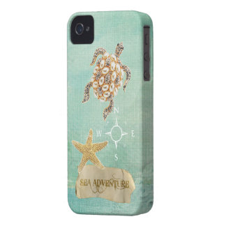 Sea Adventure Turtle Jewel Print & Starfish Case-Mate iPhone 4 Case