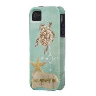 Sea Adventure Turtle Jewel Print & Starfish Case-Mate iPhone 4 Cover