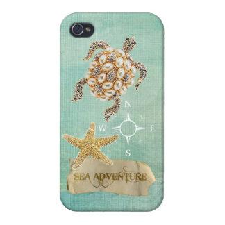 Sea Adventure Turtle Jewel Print & Starfish iPhone 4/4S Case
