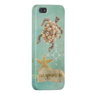 Sea Adventure Turtle Jewel Print & Starfish Cases For iPhone 5