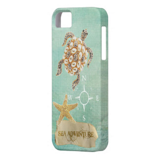 Sea Adventure Turtle Jewel Print & Starfish iPhone SE/5/5s Case