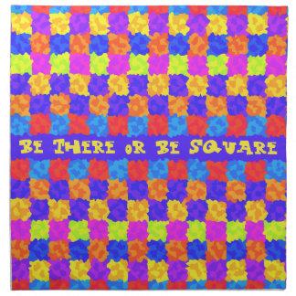 Sea allí o sea fiesta cuadrado de los años 70 servilletas imprimidas