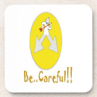 Sea amarillo cuidadoso posavaso