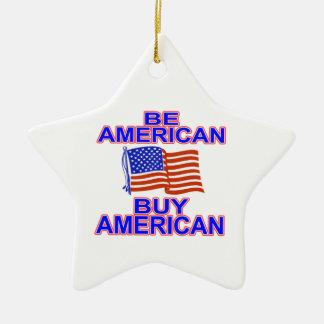 Sea americano adorno navideño de cerámica en forma de estrella