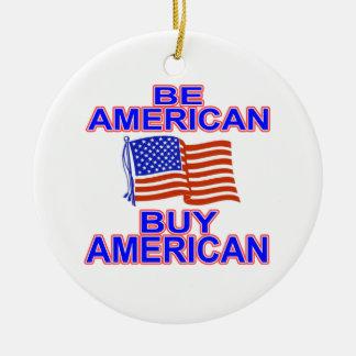 Sea americano adorno navideño redondo de cerámica