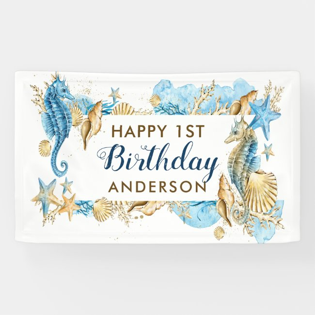 Sea and Beach Blue Gold Seahorse Birthday Party Banner
