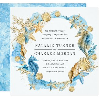 Sea and Beach Summer Wedding Invitation