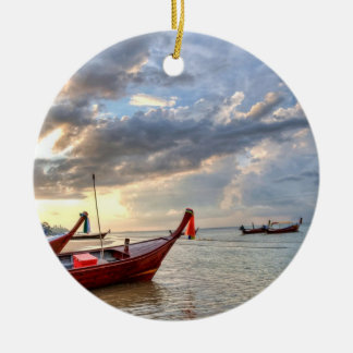 sea and boat Double-Sided ceramic round christmas ornament