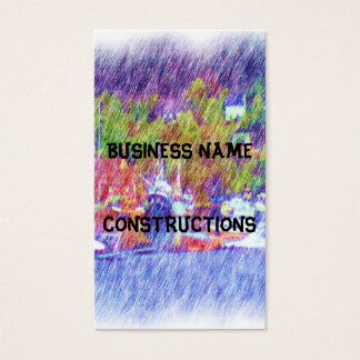 Sea and boat drawing business card