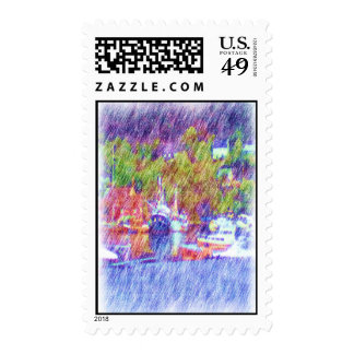 Sea and boat drawing postage stamp