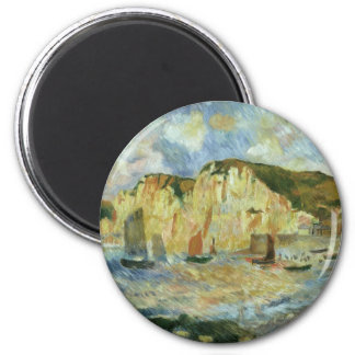 Sea and Cliffs by Pierre Renoir, Vintage Fine Art Magnet