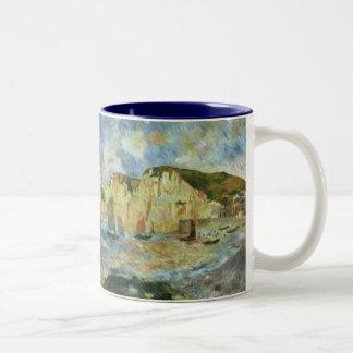 Sea and Cliffs by Pierre Renoir, Vintage Fine Art Two-Tone Coffee Mug
