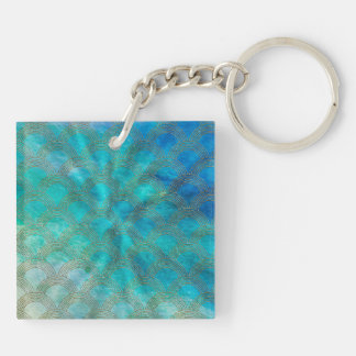 Sea and Mermaid Scales in aqua and gold Keychain