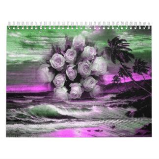 Sea and roses in purple calendar