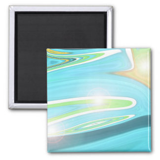 Sea and Sand Abstract 2 Inch Square Magnet