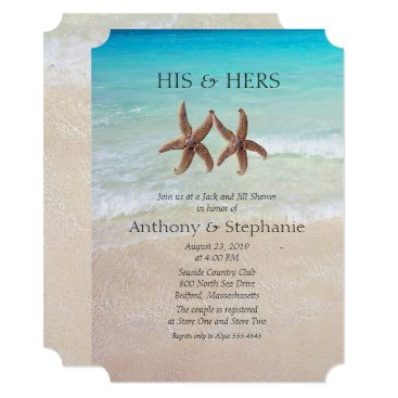 Beach Themed Sea and Sand Couple's Wedding Shower Card