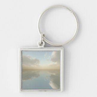 Sea and Sky Silver-Colored Square Keychain