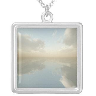 Sea and Sky Square Pendant Necklace