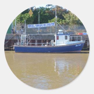 Sea Angling Boat Blue Dawn Classic Round Sticker