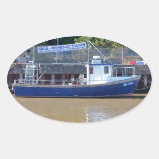 Sea Angling Boat Blue Dawn Oval Sticker