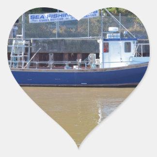 Sea Angling Boat Blue Dawn Heart Sticker