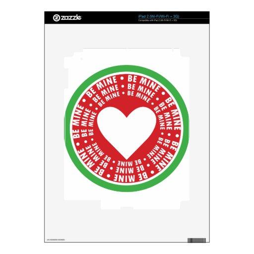 Sea anillos de la mina alrededor del corazón iPad 2 calcomanía