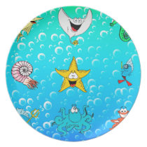Sea Animal Cartoon Melamine Plate