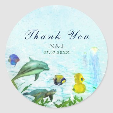 Sea Animals Beach Watercolor Party Favor Classic Round Sticker