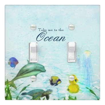 Beach Themed Sea Animals Beach Watercolor Personalized Room Light Switch Cover
