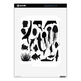 Sea animals silhouette design iPad 2 decals
