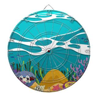 Sea animals under the ocean dartboard