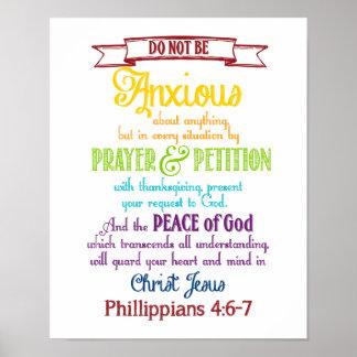 Sea ansioso para nada el 4:6 de los filipenses - 7 póster