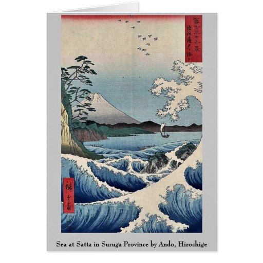 Sea at Satta in Suruga Province by Ando, Hiroshige Cards