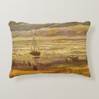 Sea at Scheveningen by Vincent van Gogh Decorative Pillow